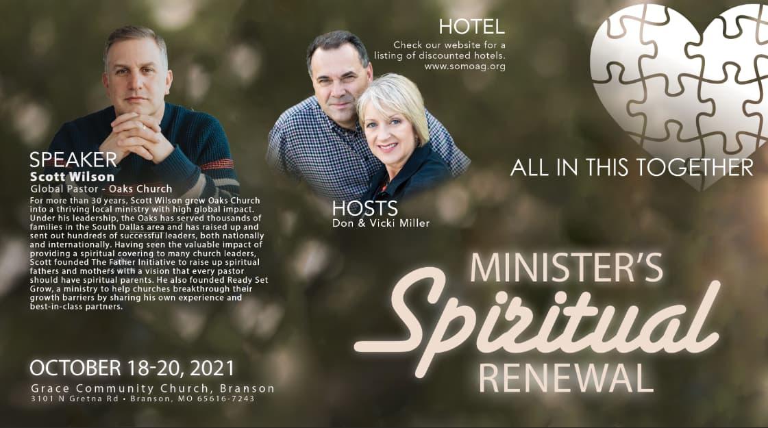 Minister's Spiritual Renewal October 18-20, 2021 - Grace Community Church, Branson - Speaker Scott Wilson, Hotels at somoag.org